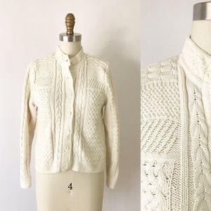 LL Bean Cardigan Cotton Fisherman Aran Knit Cream